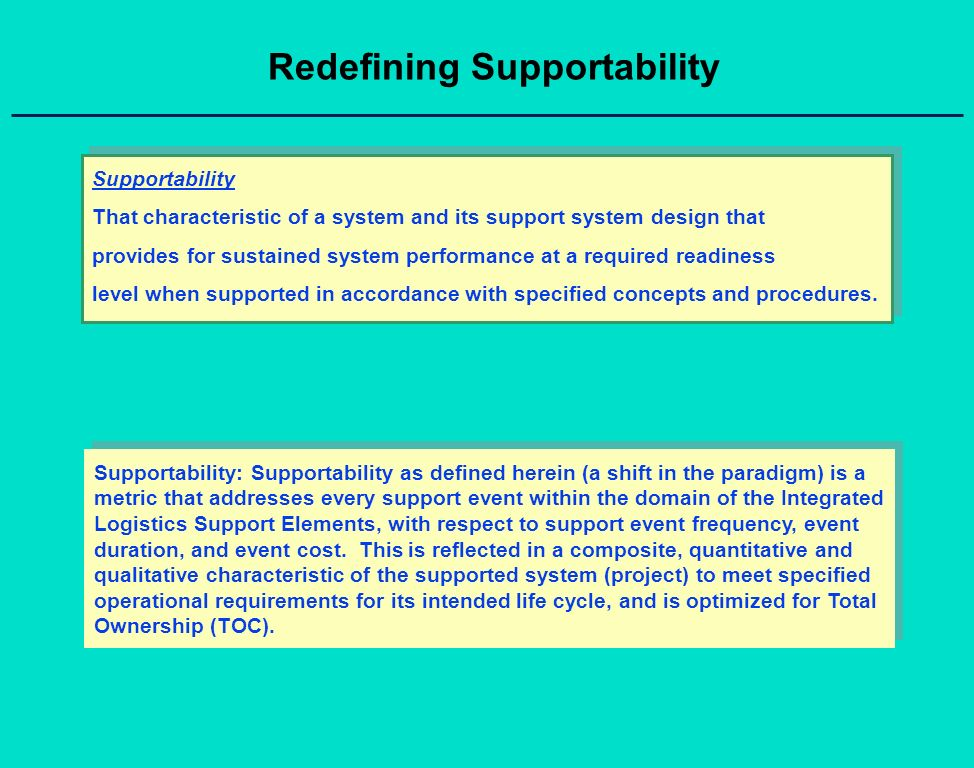 Redefining Supportability Supportability That characteristic of a system and its support system design that provides for sustained system performance at a required readiness level when supported in accordance with specified concepts and procedures.