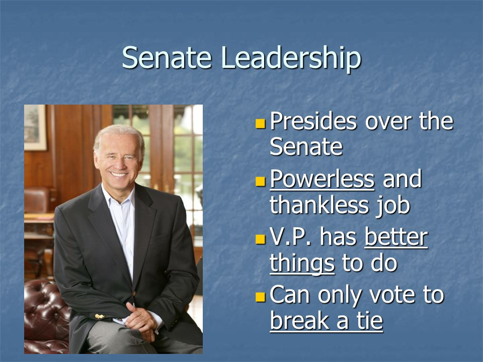 Senate Leadership President of the Senate President of the Senate Vice President of the U.S.