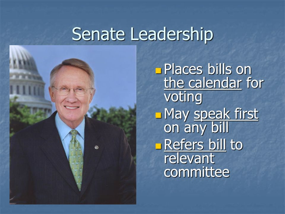 Senate Leadership Senate Majority Leader Senate Majority Leader Harry Reid (D-NV) Plans party strategy