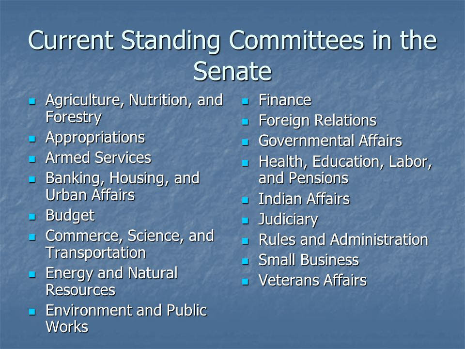 Current Standing Committees in the House of Representatives Agriculture Agriculture Appropriations Appropriations Armed Services Armed Services Budget Budget Education and the Workforce Education and the Workforce Energy and Commerce Energy and Commerce Financial Services Financial Services Government Reform Government Reform House Administration House Administration International Relations International Relations Judiciary Judiciary Resources Resources Rules Rules Science Science Small Business Small Business Standards of Official Conduct Standards of Official Conduct Transportation and Infrastructure Transportation and Infrastructure Veterans Affairs Veterans Affairs Ways and Means Ways and Means