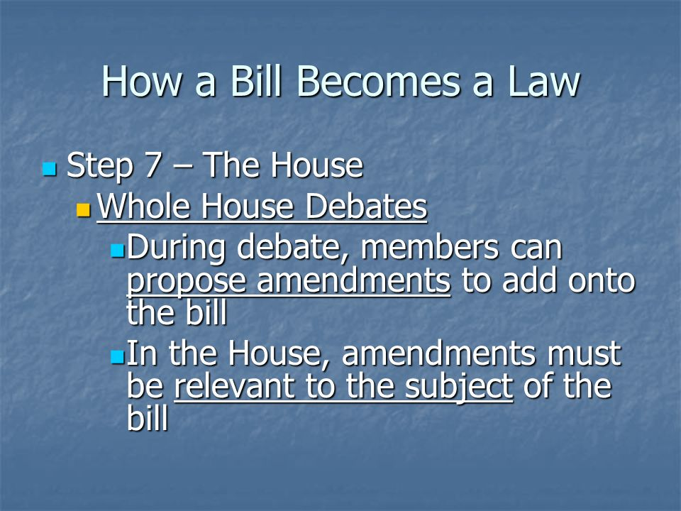 How a Bill Becomes a Law Step 6 – The House Step 6 – The House Referred to Rules Committee Referred to Rules Committee Places bill on the calendar Places bill on the calendar Sets the rules for time limits and number of amendments allowed Sets the rules for time limits and number of amendments allowed If they refuse to put rules on it… If they refuse to put rules on it…