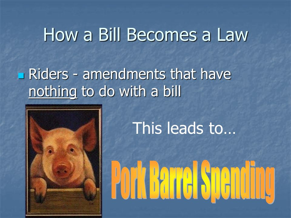 How a Bill Becomes a Law Step 13 – The Senate Step 13 – The Senate Whole Senate Debates Whole Senate Debates No Rules Committee, so no limits on time or amendments No Rules Committee, so no limits on time or amendments Filibuster – talking at length to stall action on a bill, can only be ended by cloture (60 votes) Filibuster – talking at length to stall action on a bill, can only be ended by cloture (60 votes)