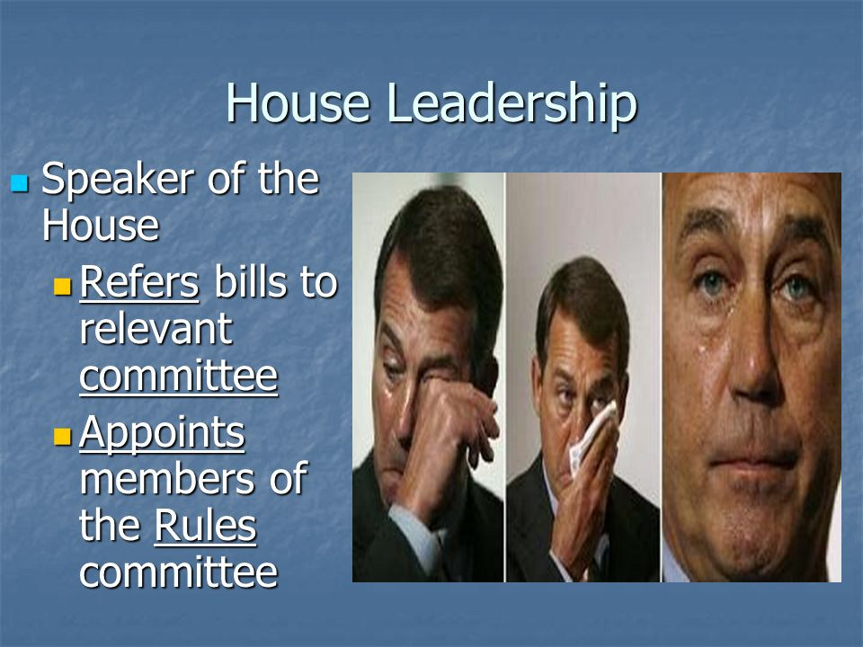 House Leadership Speaker of the House Speaker of the House John Boehner (R-OH) John Boehner (R-OH) Presides over House session Presides over House session