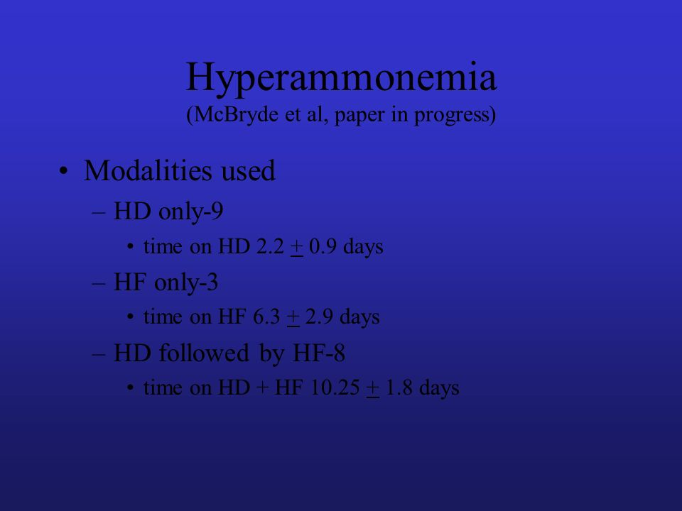 Modalities used –HD only-9 time on HD 2.2 + 0.9 days –HF only-3 time on HF 6.3 + 2.9 days –HD followed by HF-8 time on HD + HF 10.25 + 1.8 days Hypera