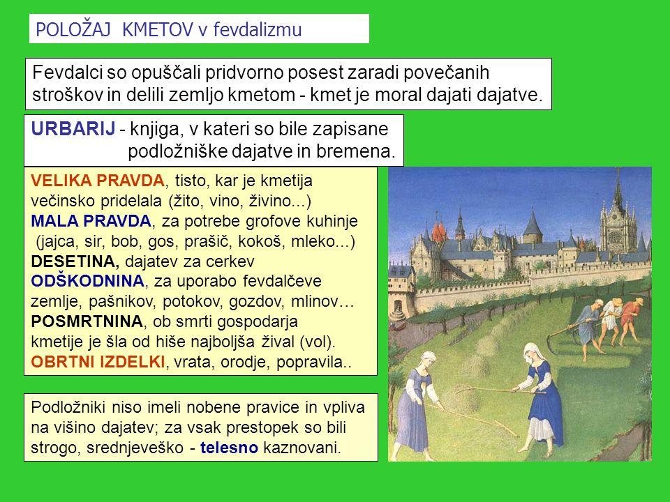 POLOŽAJ KMETOV v fevdalizmu Fevdalci so opuščali pridvorno posest zaradi povečanih stroškov in delili zemljo kmetom - kmet je moral dajati dajatve. UR