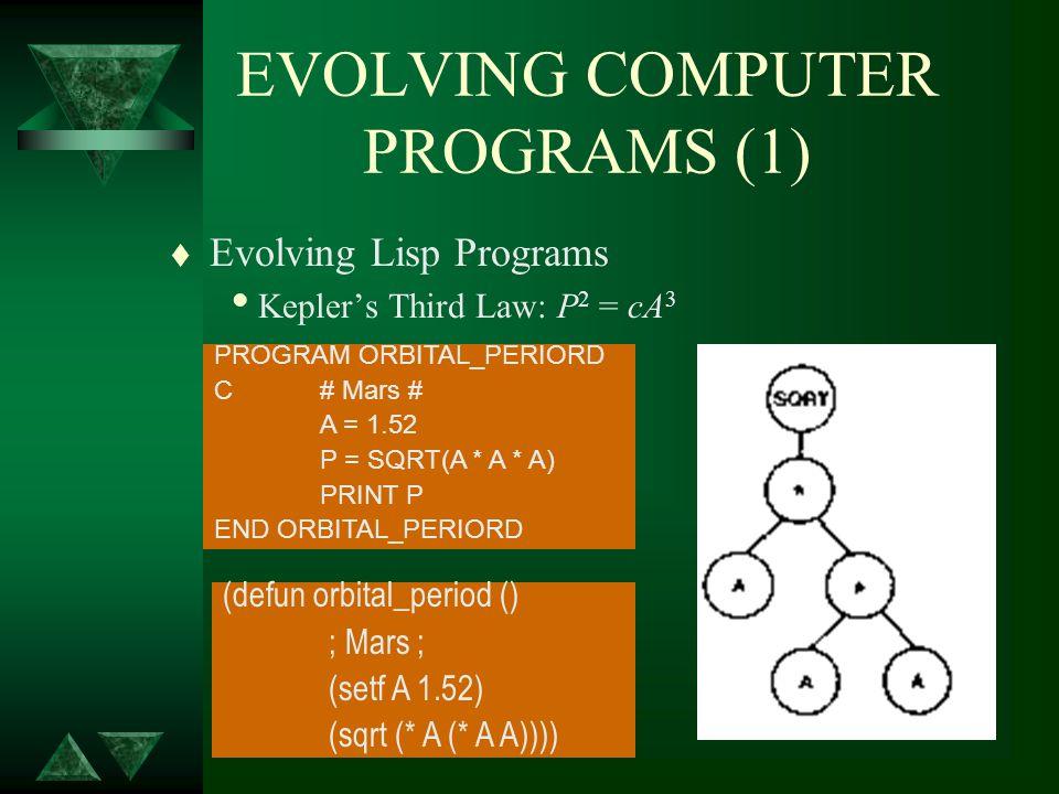 EVOLVING COMPUTER PROGRAMS (1) t Evolving Lisp Programs Keplers Third Law: P 2 = cA 3 PROGRAM ORBITAL_PERIORD C# Mars # A = 1.52 P = SQRT(A * A * A) P
