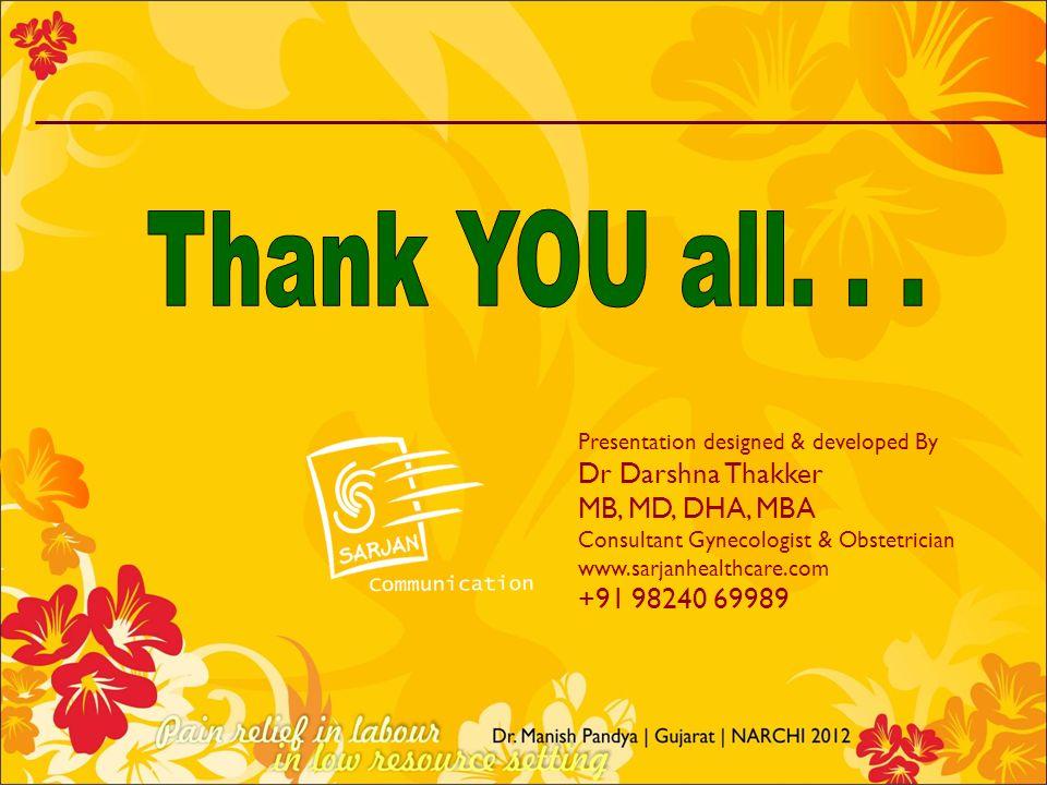 Presentation designed & developed By Dr Darshna Thakker MB, MD, DHA, MBA Consultant Gynecologist & Obstetrician www.sarjanhealthcare.com +91 98240 699
