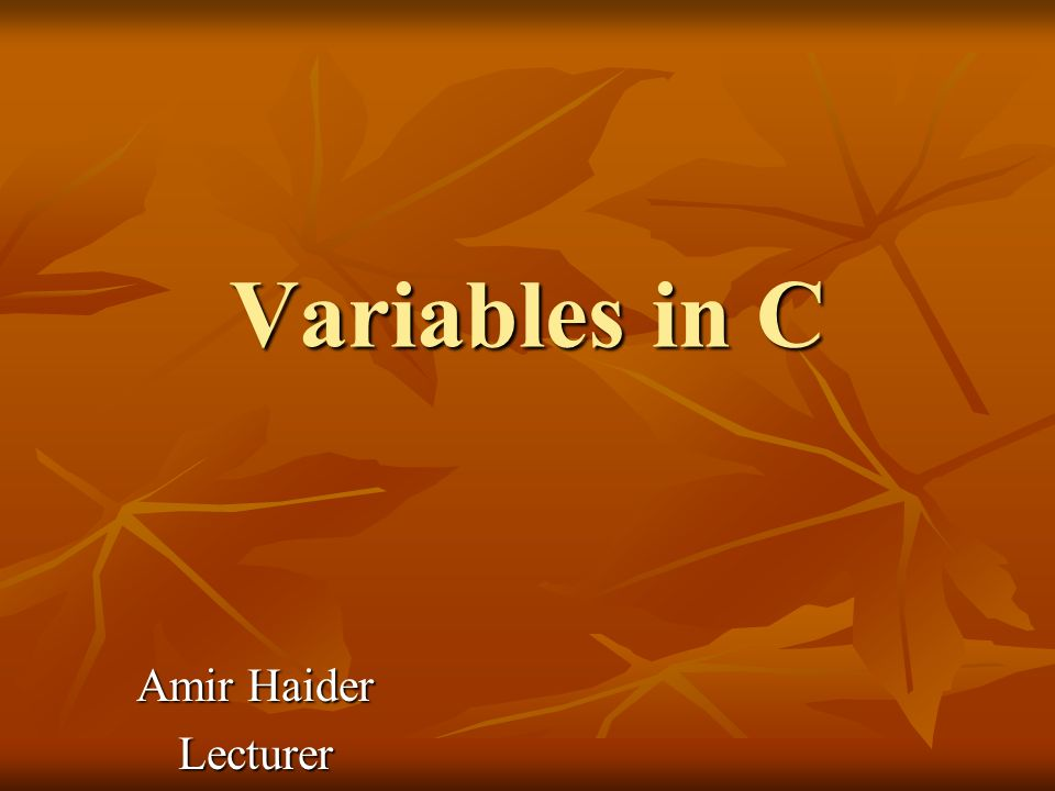 Variables in C Amir Haider Lecturer