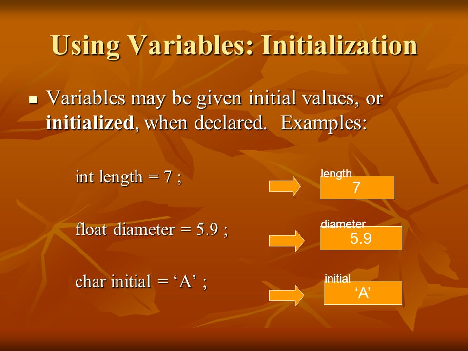 Using Variables: Initialization Variables may be given initial values, or initialized, when declared. Examples: Variables may be given initial values,