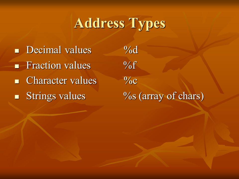Address Types Decimal values %d Decimal values %d Fraction values %f Fraction values %f Character values %c Character values %c Strings values %s (arr