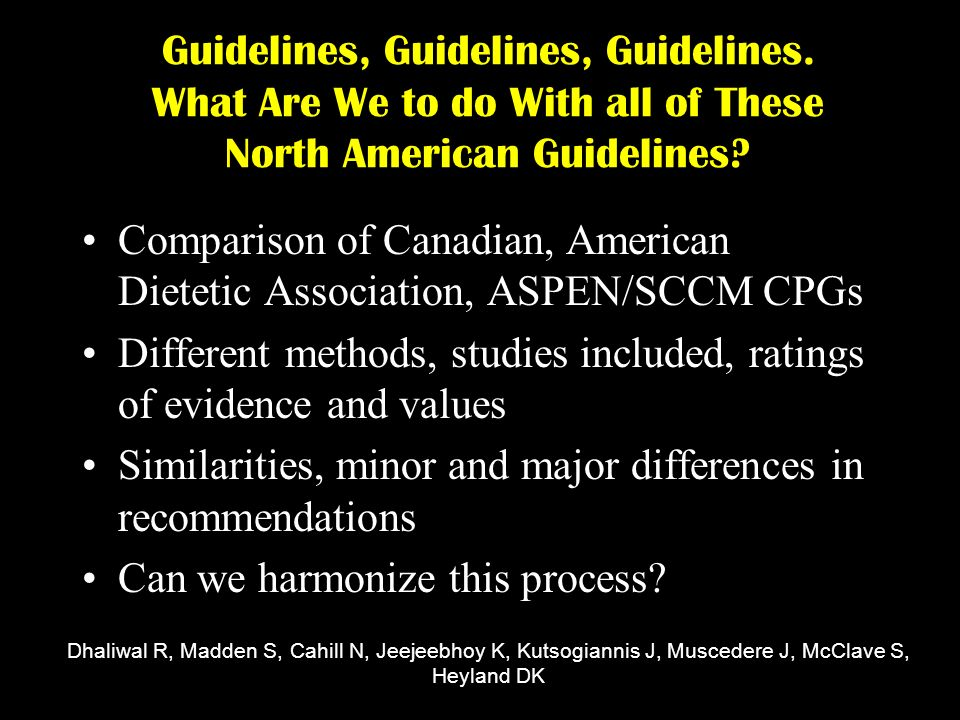 Guidelines, Guidelines, Guidelines. What Are We to do With all of These North American Guidelines.