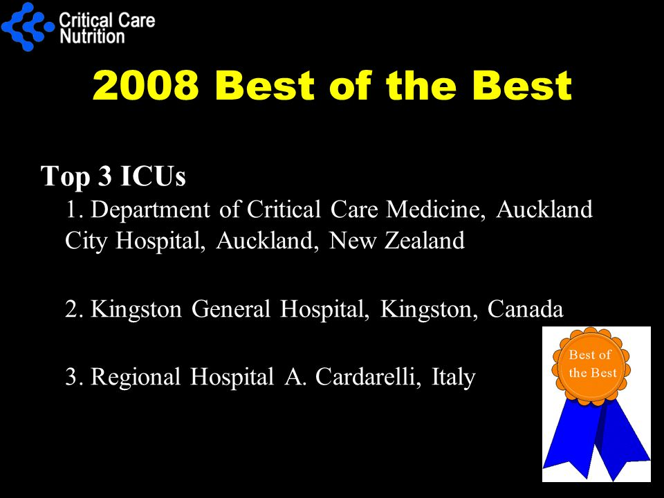 2008 Best of the Best Top 3 ICUs 1. Department of Critical Care Medicine, Auckland City Hospital, Auckland, New Zealand 2. Kingston General Hospital,
