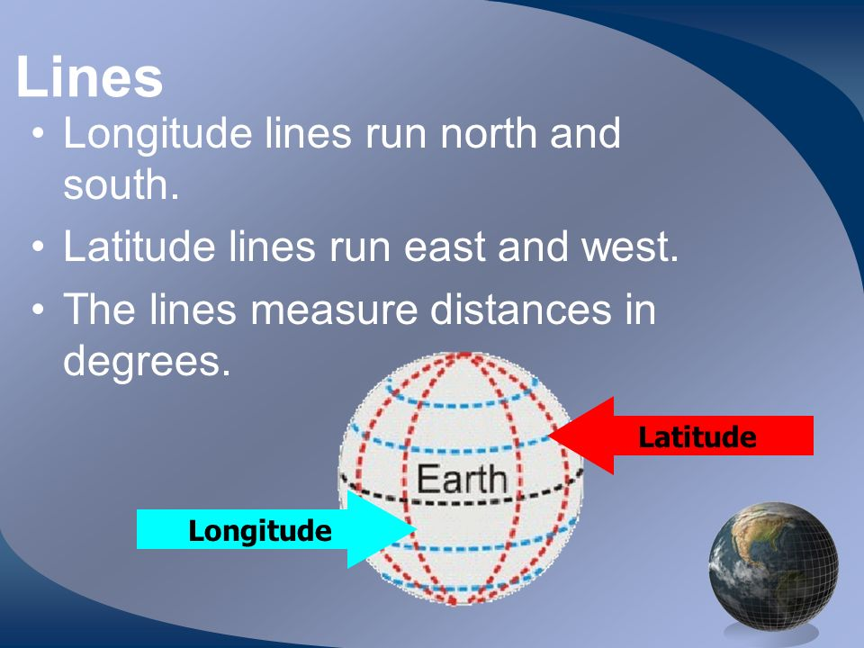 Lines Longitude lines run north and south. Latitude lines run east and west. The lines measure distances in degrees. Latitude Longitude