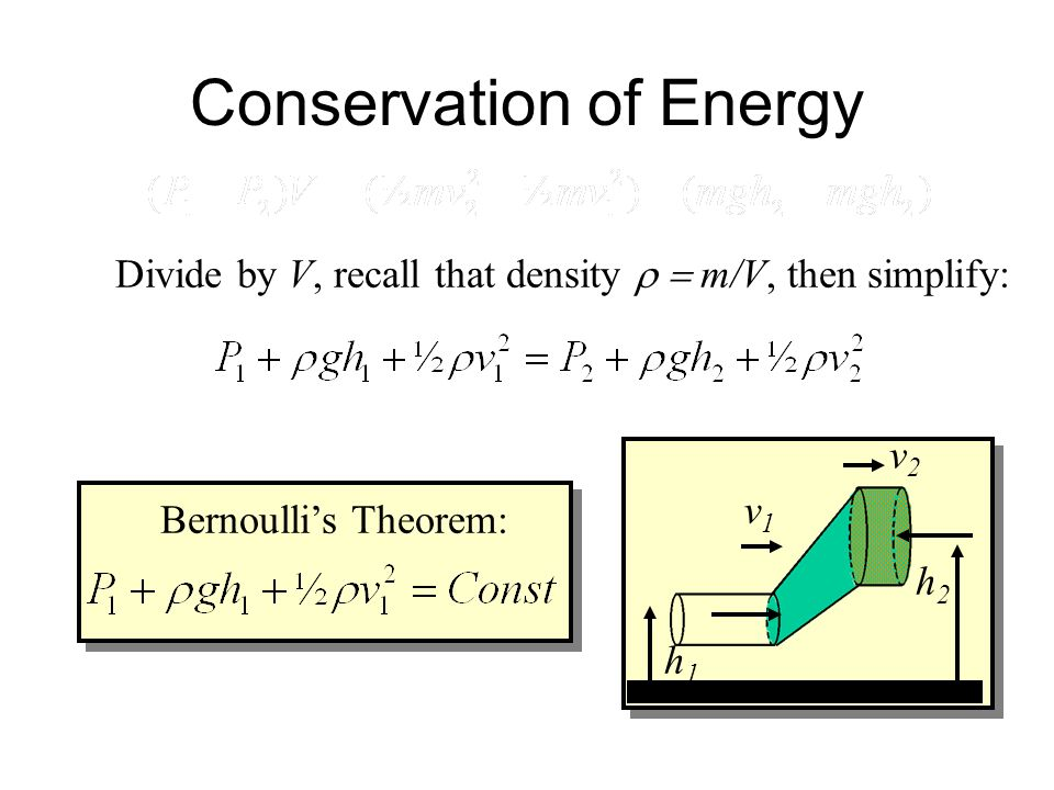 Conservation of Energy Kinetic Energy K: Potential Energy U: Net Work = K + U also Net Work = (P 1 - P 2 )V F 1 = P 1 A 1 F 2 = P 2 A 2 v1v1 v2v2 A1A1
