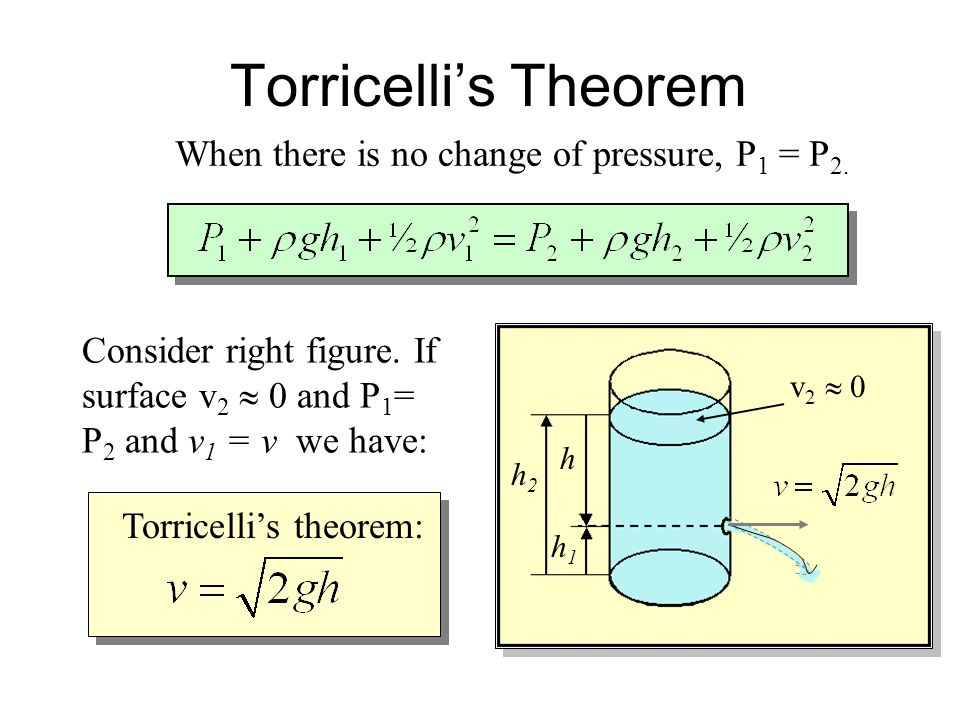 Bernoullis Theorem for Fluids at Rest. For many situations, the fluid remains at rest so that v 1 and v 2 are zero. In such cases we have: P 1 - P 2 =