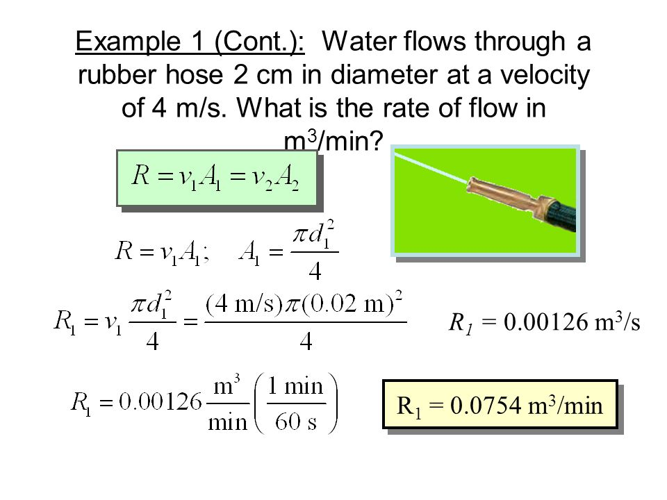 Example 1: Water flows through a rubber hose 2 cm in diameter at a velocity of 4 m/s. What must be the diameter of the nozzle in order that the water