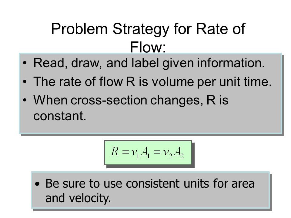 Example 1 (Cont.): Water flows through a rubber hose 2 cm in diameter at a velocity of 4 m/s. What is the rate of flow in m 3 /min? R 1 = 0.00126 m 3