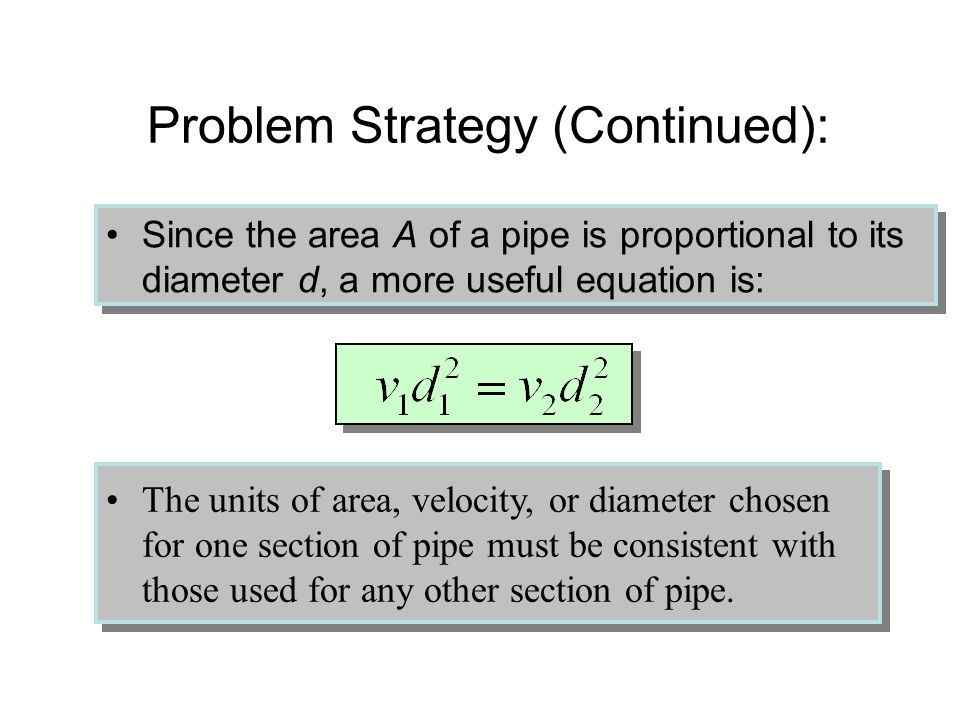 Problem Strategy for Rate of Flow: Read, draw, and label given information. The rate of flow R is volume per unit time. When cross-section changes, R
