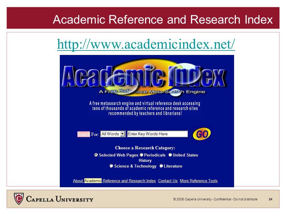 © 2005 Capella University - Confidential - Do not distribute23 Clustering Engines Vivisimo Results http://vivisimo.com/