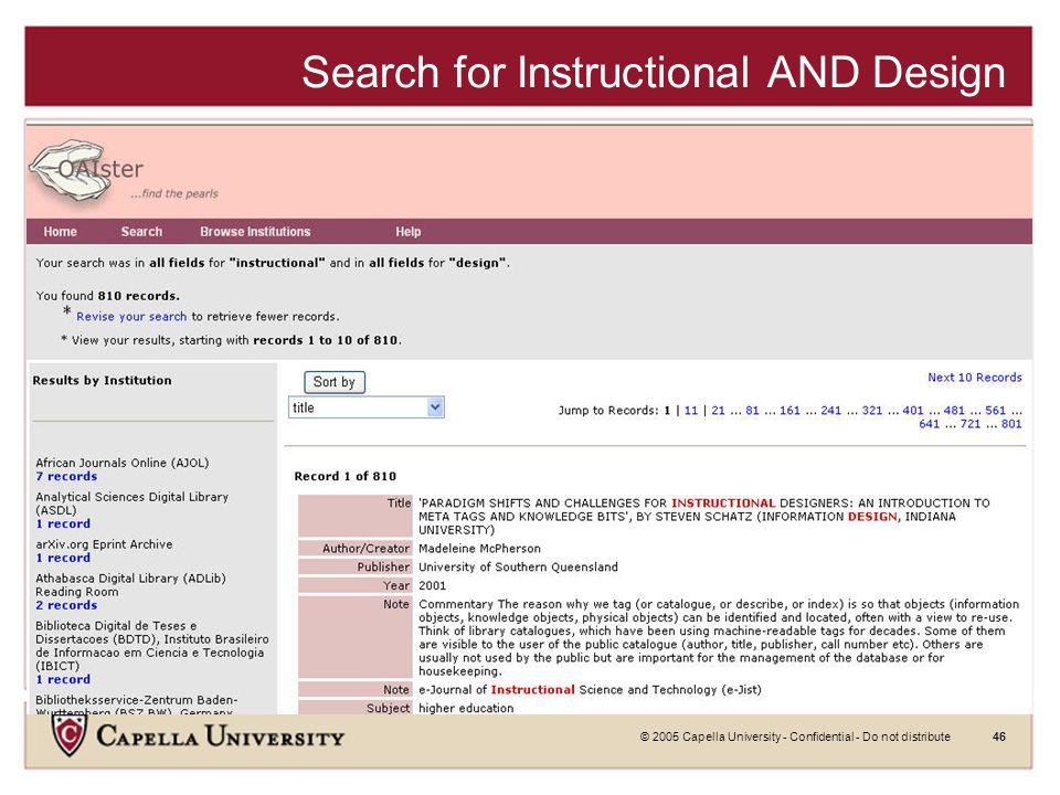 © 2005 Capella University - Confidential - Do not distribute45 OAIster Search Screen