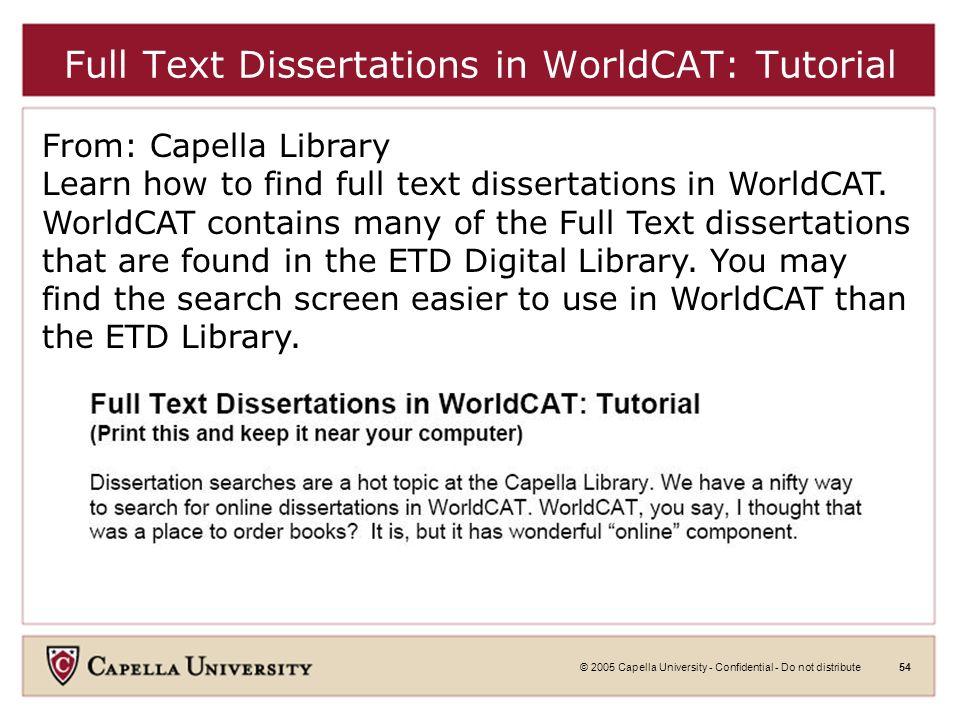© 2005 Capella University - Confidential - Do not distribute53 Proquest Search