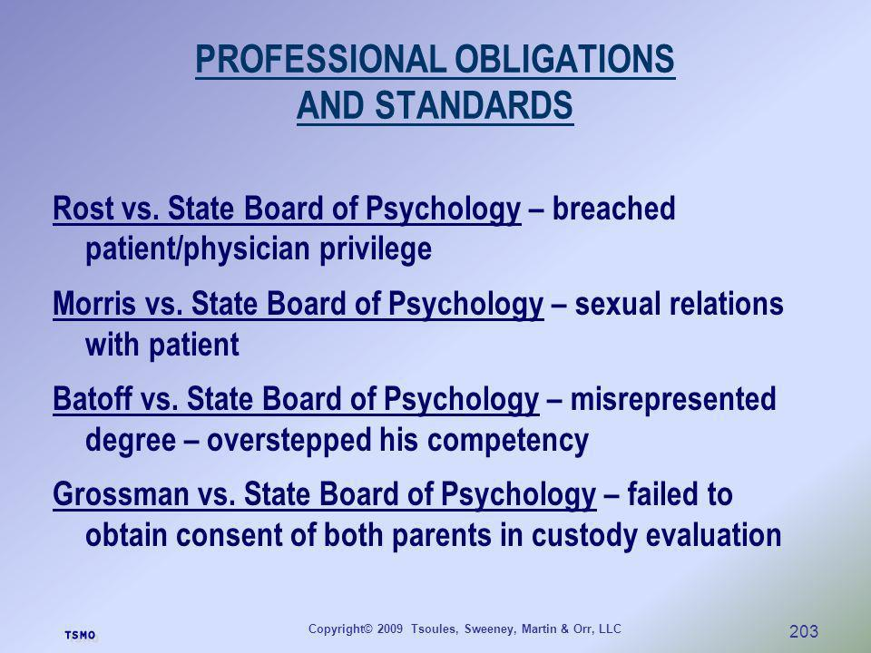 Copyright© 2009 Tsoules, Sweeney, Martin & Orr, LLC 203 PROFESSIONAL OBLIGATIONS AND STANDARDS Rost vs. State Board of Psychology – breached patient/p