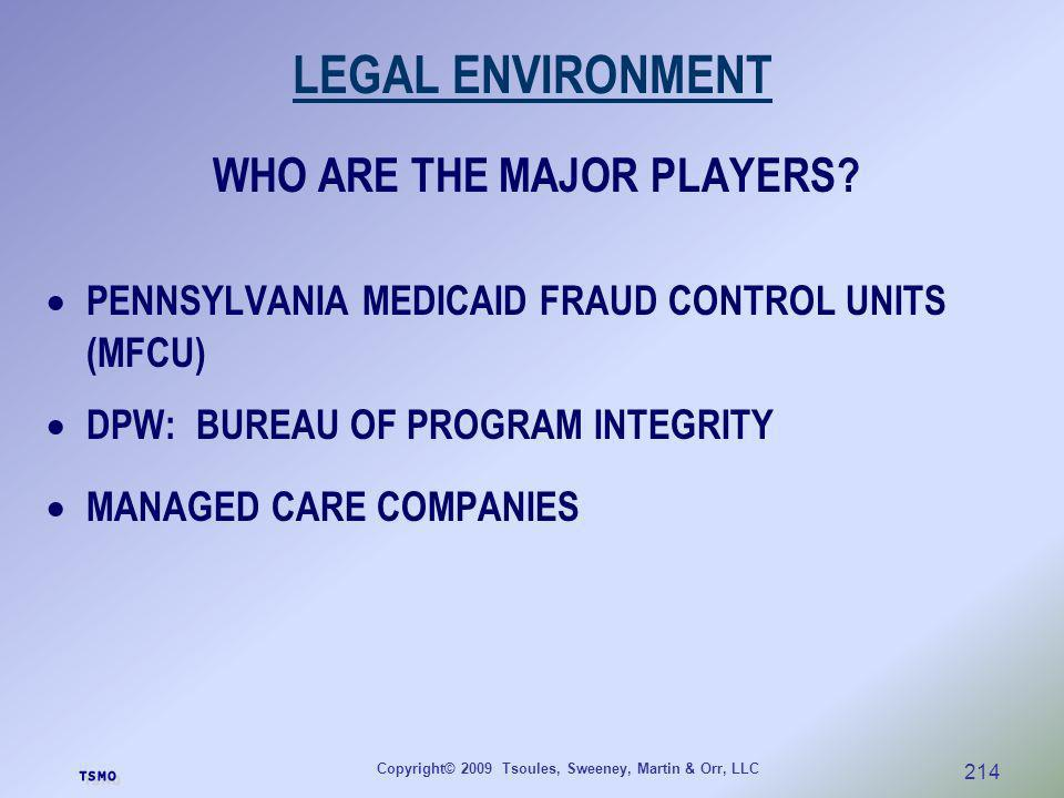 Copyright© 2009 Tsoules, Sweeney, Martin & Orr, LLC 214 LEGAL ENVIRONMENT WHO ARE THE MAJOR PLAYERS? PENNSYLVANIA MEDICAID FRAUD CONTROL UNITS (MFCU)