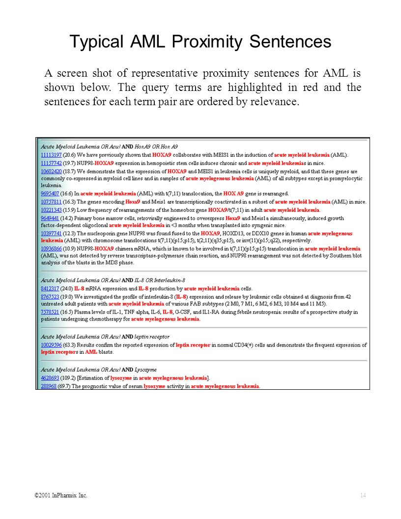 ©2001 InPharmix Inc.14 Typical AML Proximity Sentences A screen shot of representative proximity sentences for AML is shown below. The query terms are