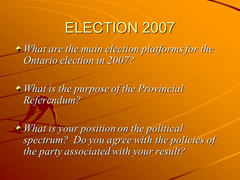 ELECTION 2007 What are the main election platforms for the Ontario election in 2007.