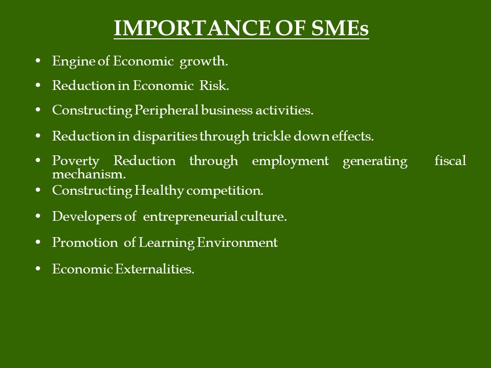 IMPORTANCE OF SMEs Engine of Economic growth. Reduction in Economic Risk.