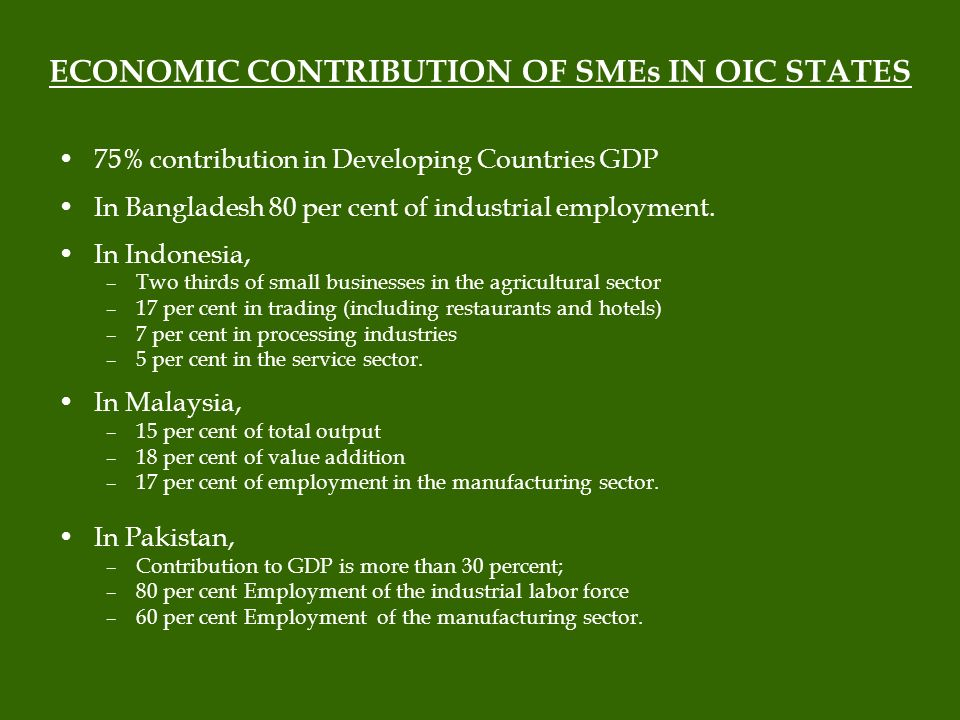 ECONOMIC CONTRIBUTION OF SMEs IN OIC STATES 75% contribution in Developing Countries GDP In Bangladesh 80 per cent of industrial employment.
