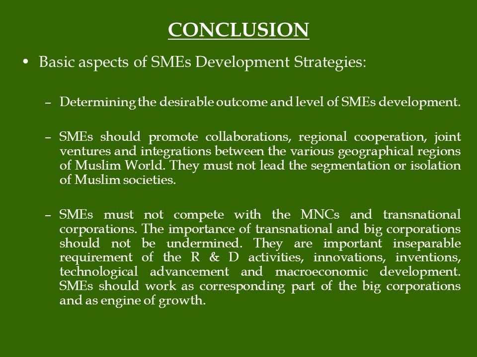 CONCLUSION Basic aspects of SMEs Development Strategies: –Determining the desirable outcome and level of SMEs development.