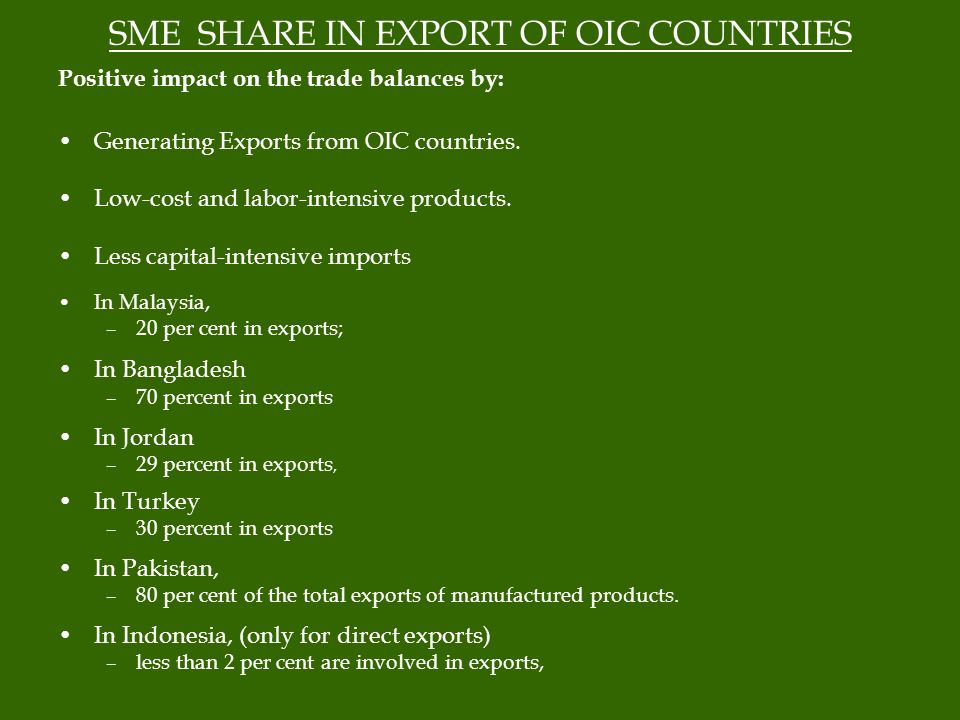 SME SHARE IN EXPORT OF OIC COUNTRIES Positive impact on the trade balances by: Generating Exports from OIC countries.