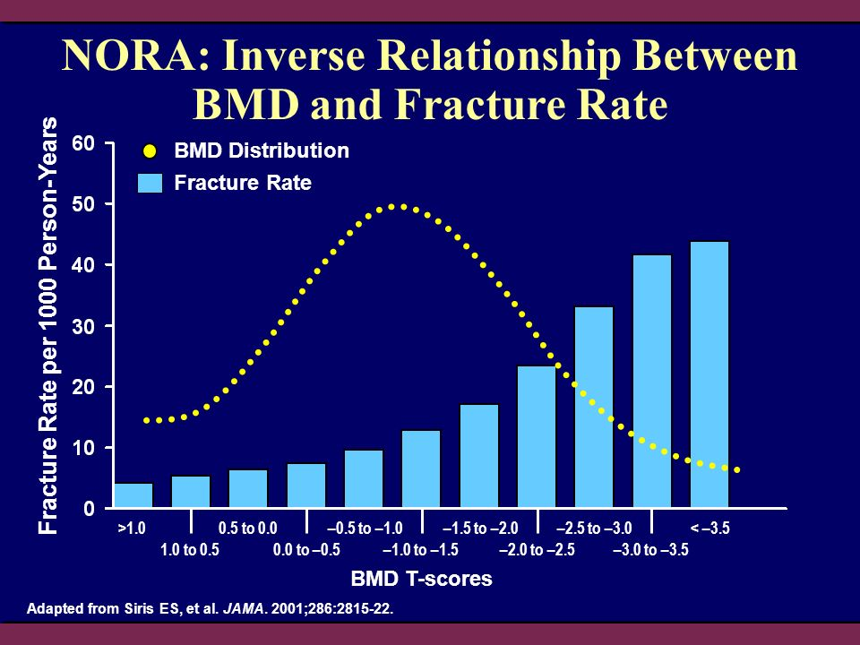 NORA: Inverse Relationship Between BMD and Fracture Rate BMD T-scores Fracture Rate per 1000 Person-Years > to to to –0.5 –0.5 to –1.0 –1.0 to –1.5 –1.5 to –2.0 –2.0 to –2.5 –2.5 to –3.0 –3.0 to –3.5 < –3.5 Adapted from Siris ES, et al.