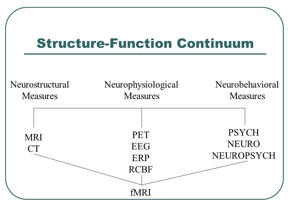 Structure-Function Continuum Neurostructural Measures Neurobehavioral Measures Neurophysiological Measures MRI CT PET EEG ERP RCBF PSYCH NEURO NEUROPS