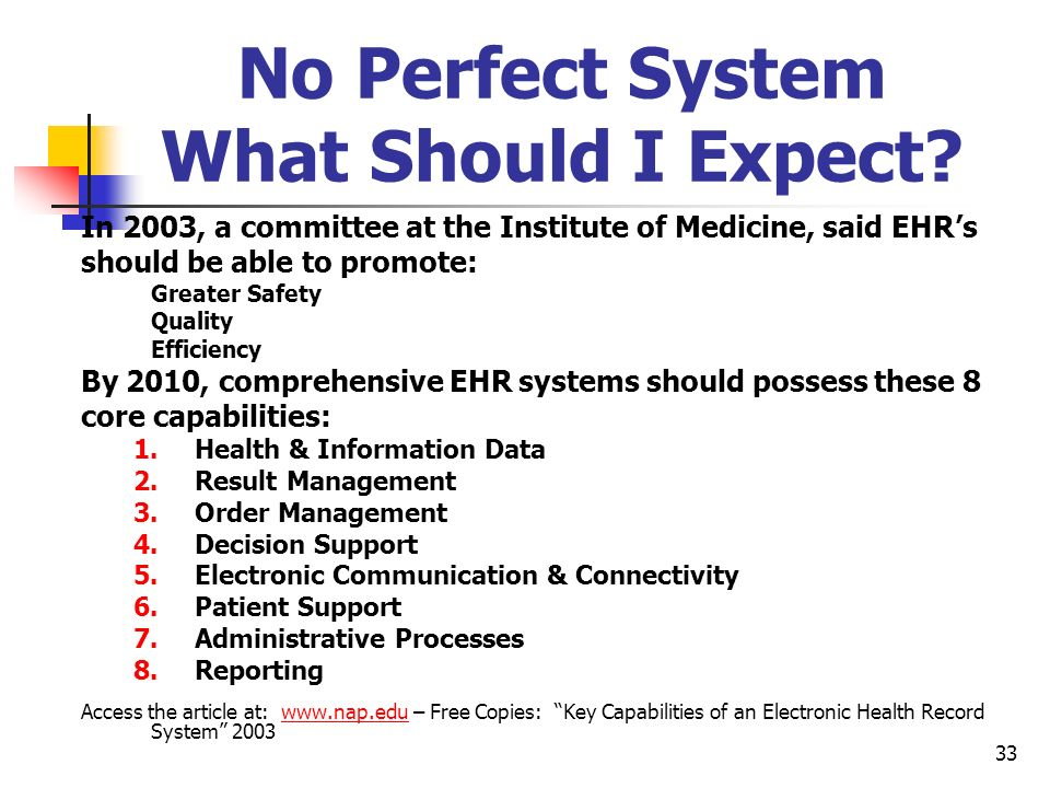 33 No Perfect System What Should I Expect? In 2003, a committee at the Institute of Medicine, said EHRs should be able to promote: Greater Safety Qual