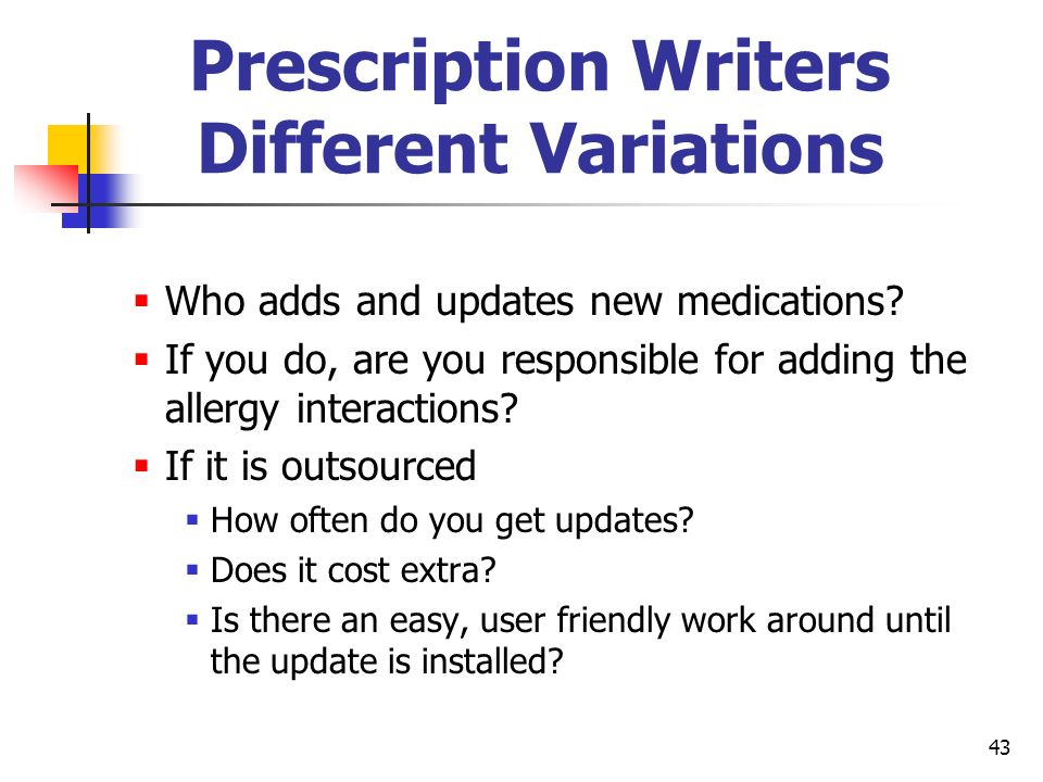 43 Prescription Writers Different Variations Who adds and updates new medications? If you do, are you responsible for adding the allergy interactions?
