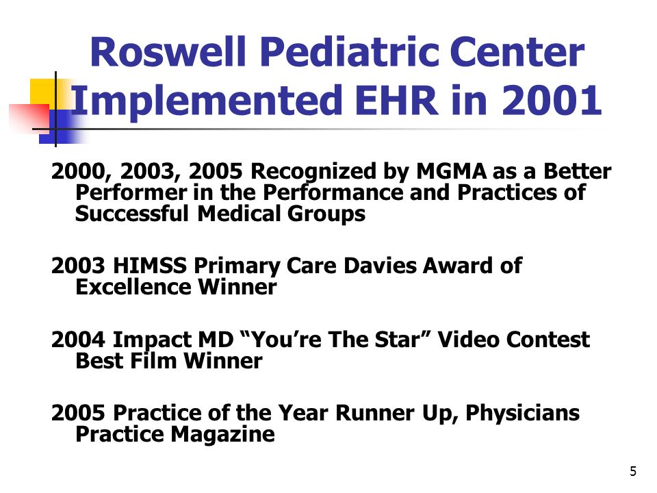 5 Roswell Pediatric Center Implemented EHR in 2001 2000, 2003, 2005 Recognized by MGMA as a Better Performer in the Performance and Practices of Succe