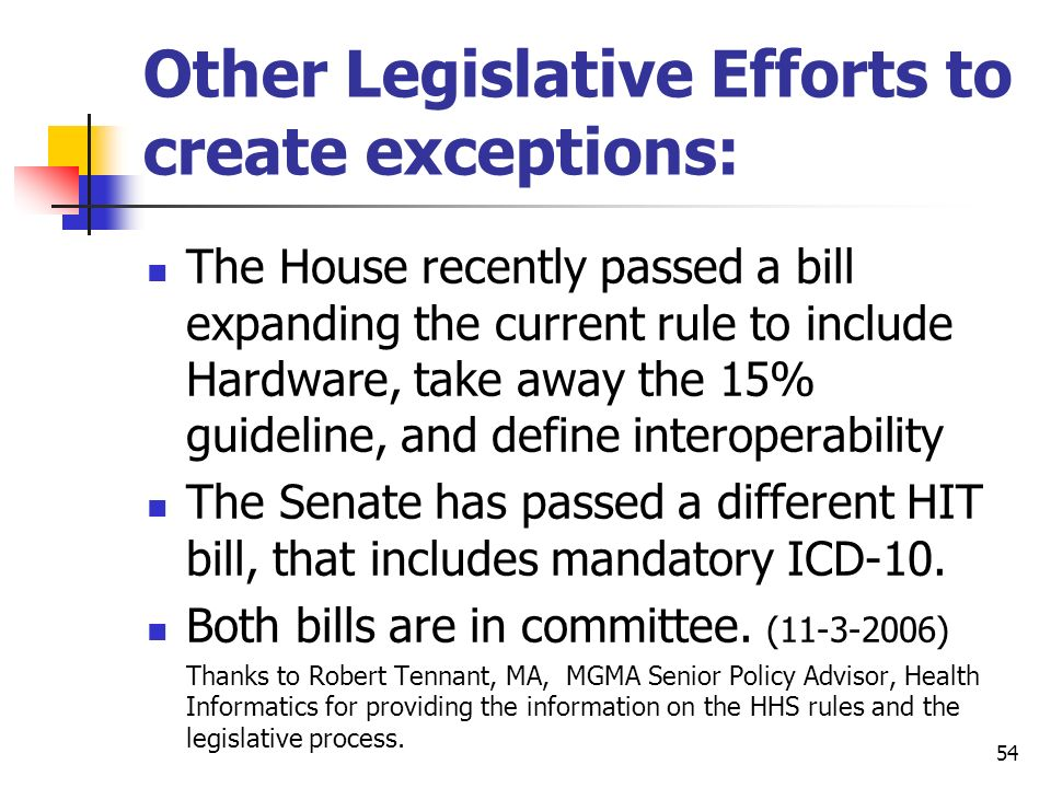 54 Other Legislative Efforts to create exceptions: The House recently passed a bill expanding the current rule to include Hardware, take away the 15%