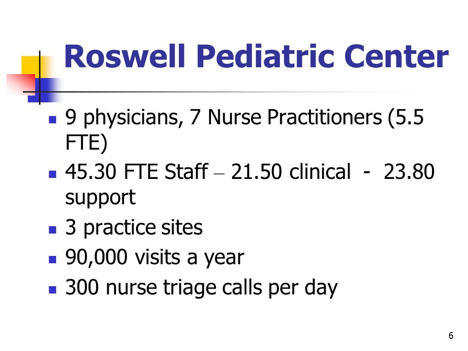6 Roswell Pediatric Center 9 physicians, 7 Nurse Practitioners (5.5 FTE) 45.30 FTE Staff – 21.50 clinical - 23.80 support 3 practice sites 90,000 visi