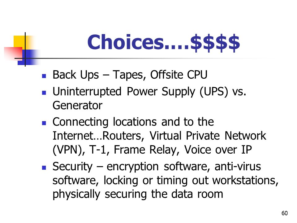 60 Choices.…$$$$ Back Ups – Tapes, Offsite CPU Uninterrupted Power Supply (UPS) vs. Generator Connecting locations and to the Internet…Routers, Virtua