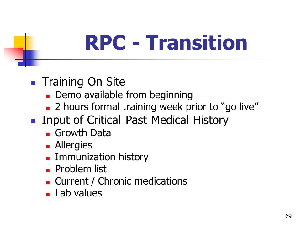 69 RPC - Transition Training On Site Demo available from beginning 2 hours formal training week prior to go live Input of Critical Past Medical Histor