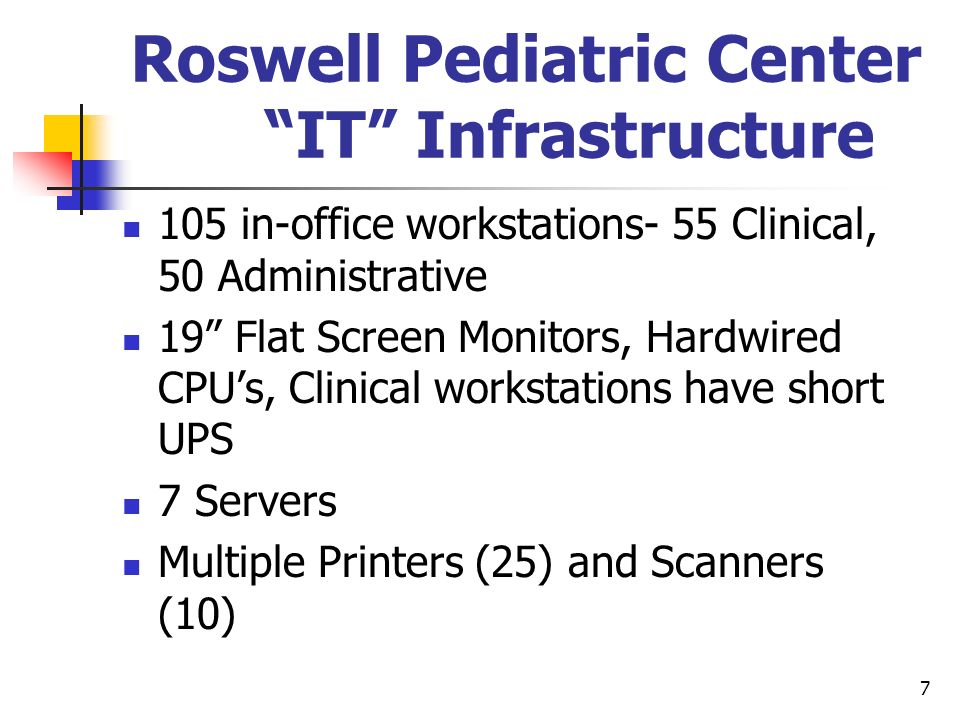 7 Roswell Pediatric Center IT Infrastructure 105 in-office workstations- 55 Clinical, 50 Administrative 19 Flat Screen Monitors, Hardwired CPUs, Clini