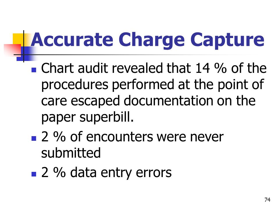 74 Accurate Charge Capture Chart audit revealed that 14 % of the procedures performed at the point of care escaped documentation on the paper superbil