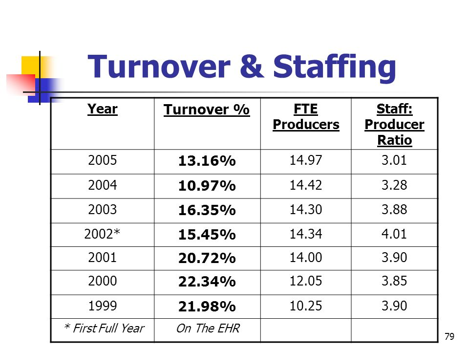 79 Turnover & Staffing Year Turnover % FTE Producers Staff: Producer Ratio 2005 13.16% 14.973.01 2004 10.97% 14.423.28 2003 16.35% 14.303.88 2002* 15.