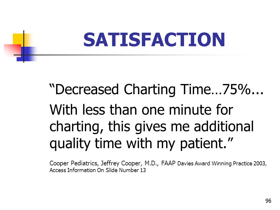 96 SATISFACTION Decreased Charting Time…75%... With less than one minute for charting, this gives me additional quality time with my patient. Cooper P
