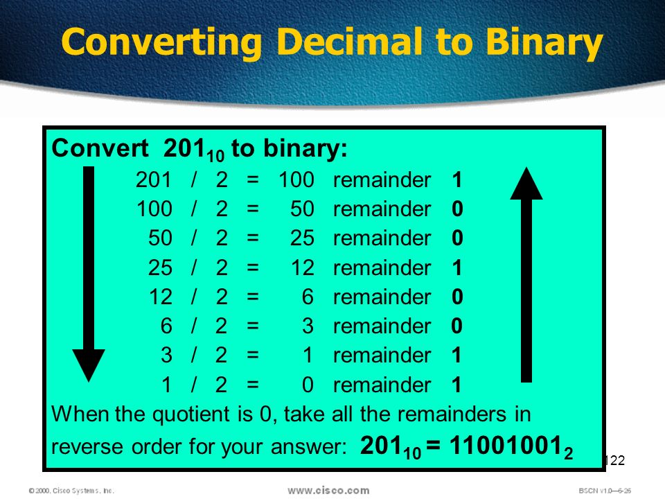 122 Converting Decimal to Binary Convert 201 10 to binary: 201 / 2 = 100 remainder 1 100 / 2 = 50 remainder 0 50 / 2 = 25 remainder 0 25 / 2 = 12 remainder 1 12 / 2 = 6 remainder 0 6 / 2 = 3 remainder 0 3 / 2 = 1 remainder 1 1 / 2 = 0 remainder 1 When the quotient is 0, take all the remainders in reverse order for your answer: 201 10 = 11001001 2
