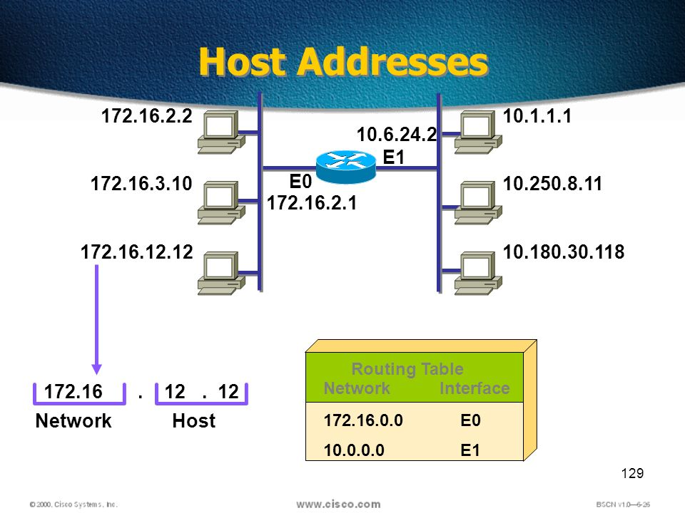 129 Host Addresses 172.16.2.2 172.16.3.10 172.16.12.12 10.1.1.1 10.250.8.11 10.180.30.118 E1 172.1612 NetworkHost..