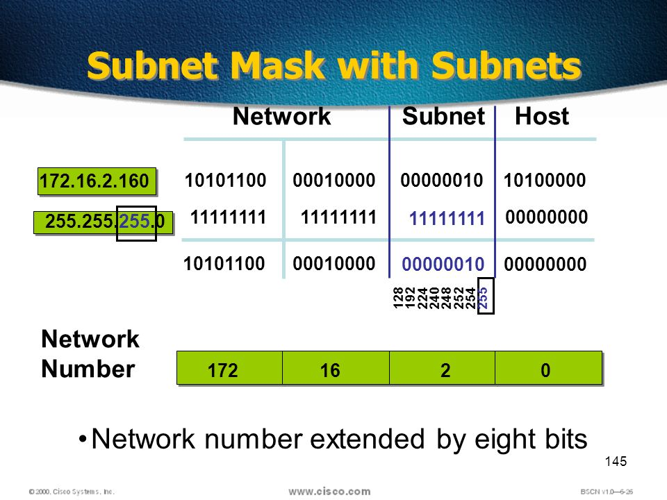 145 Network number extended by eight bits Subnet Mask with Subnets 16 Network Host 172.16.2.160 255.255.255.0 17220 10101100 11111111 10101100 00010000 11111111 00010000 11111111 00000010 10100000 00000000 00000010 Subnet Network Number 128 192 224 240 248 252 254 255