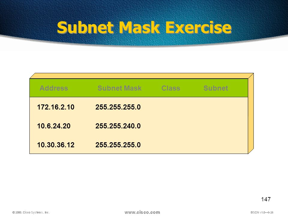 147 Subnet Mask Exercise AddressSubnet MaskClassSubnet 172.16.2.10 10.6.24.20 10.30.36.12 255.255.255.0 255.255.240.0 255.255.255.0
